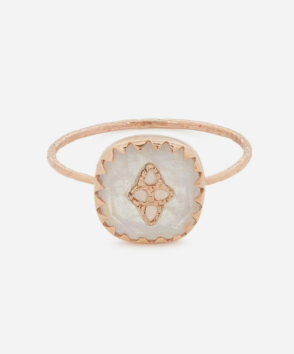 Pascale Monvoisin - Rose Gold Pierrot Diamond and Moonstone Ring