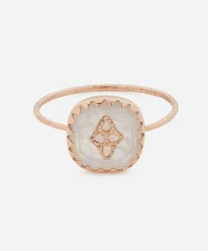 Rose Gold Pierrot Diamond and Moonstone Ring