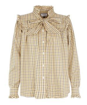 x ALEXACHUNG Bella Pussy-Bow Herringbone Cotton Shirt