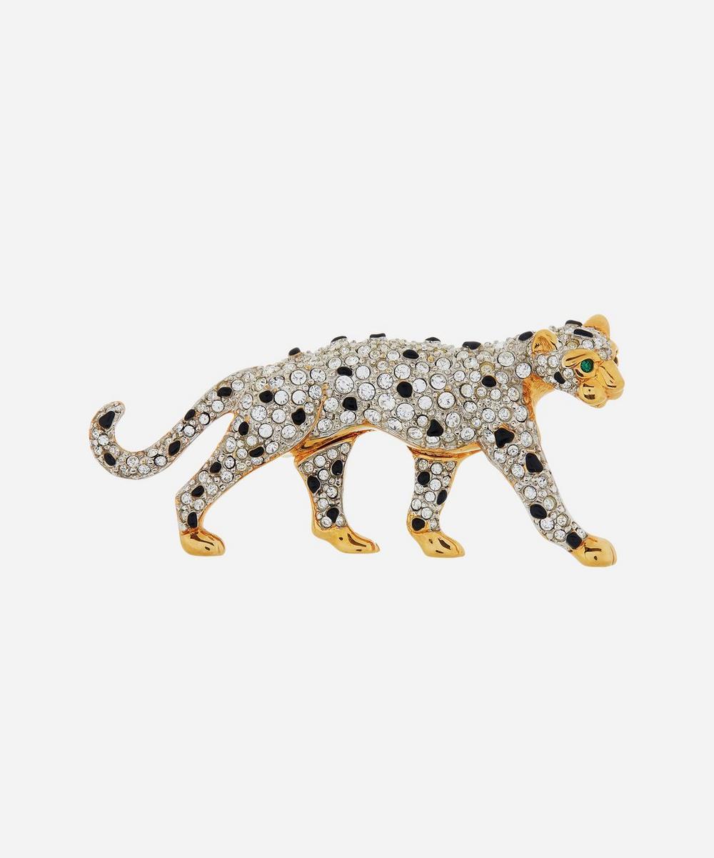 Susan Caplan Vintage - Gold-Plated 1990s Swarovski Crystal Panther Brooch
