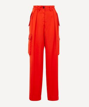 Polka Satin Wide-Leg Cargo Trousers