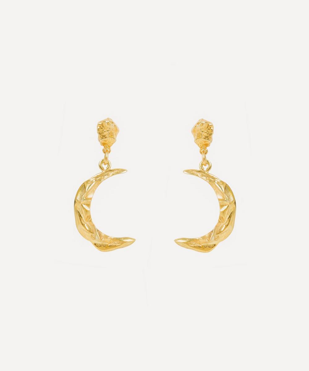 Hermina Athens - Gold-Plated Méliès Moon Drop Earrings