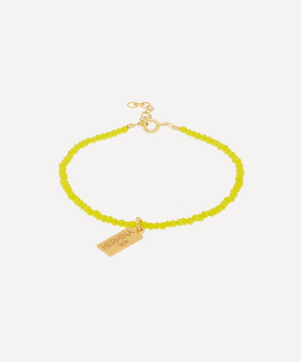 Hermina Athens - Gold-Plated Yellow Crystal Hermina Tag Bracelet