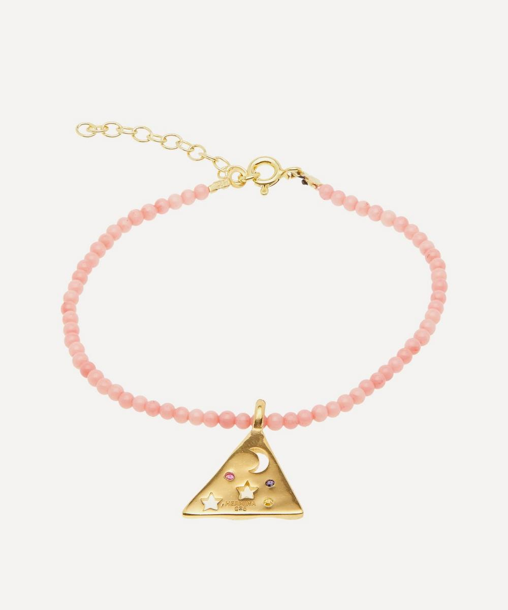 Hermina Athens - Gold-Plated Méliès Small Pyramis Pink Coral Bracelet