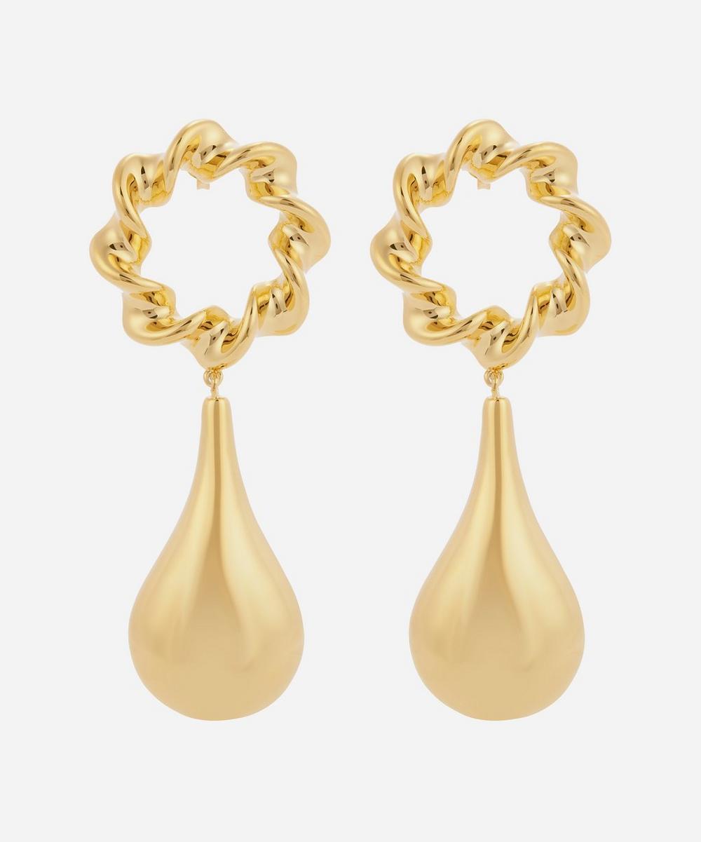 Moya - Gold-Plated Pruet Drop Earrings