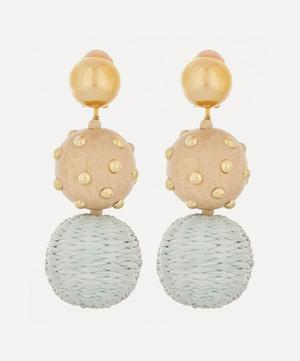Raffia Embroidered Ball Earrings
