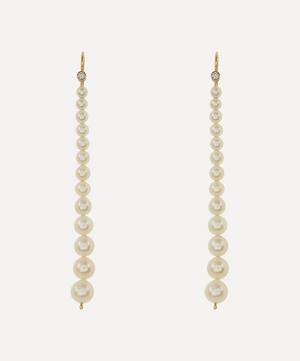 Gold Graduating Pearl and Diamond Drop Earrings