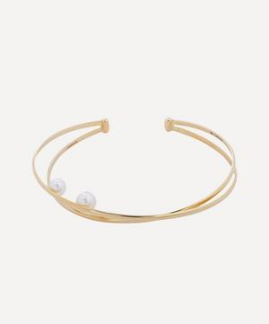 Gold Elipse Pearl Cuff Bracelet