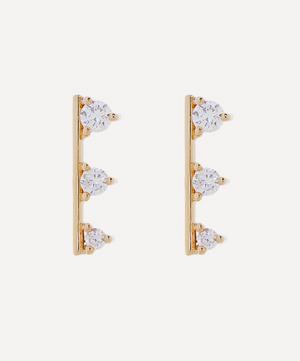 Gold Small Diamond Bar Stud Earrings
