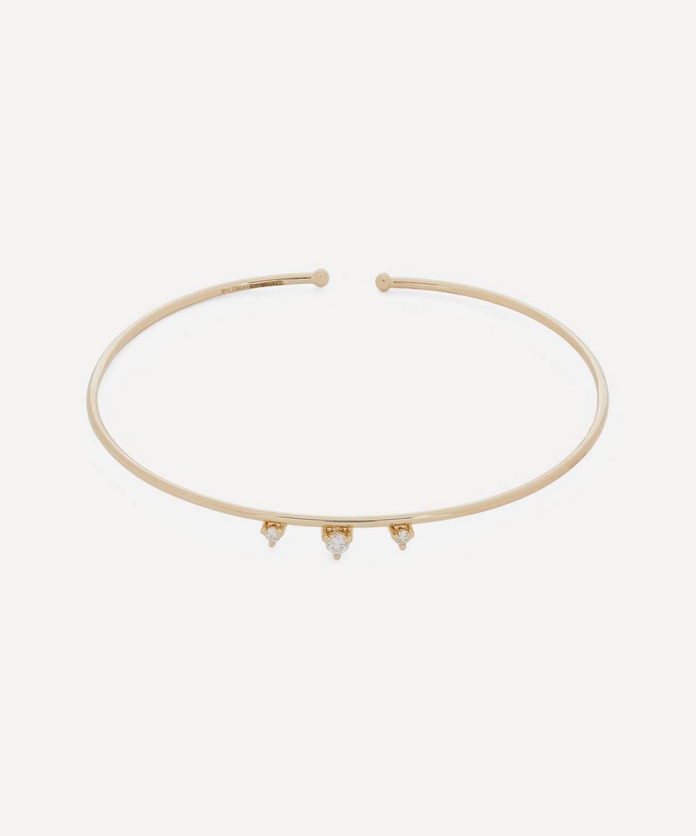 Mizuki - Gold Triple Diamond Cuff Bracelet