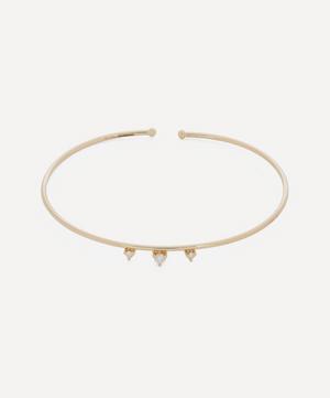 Gold Triple Diamond Cuff Bracelet