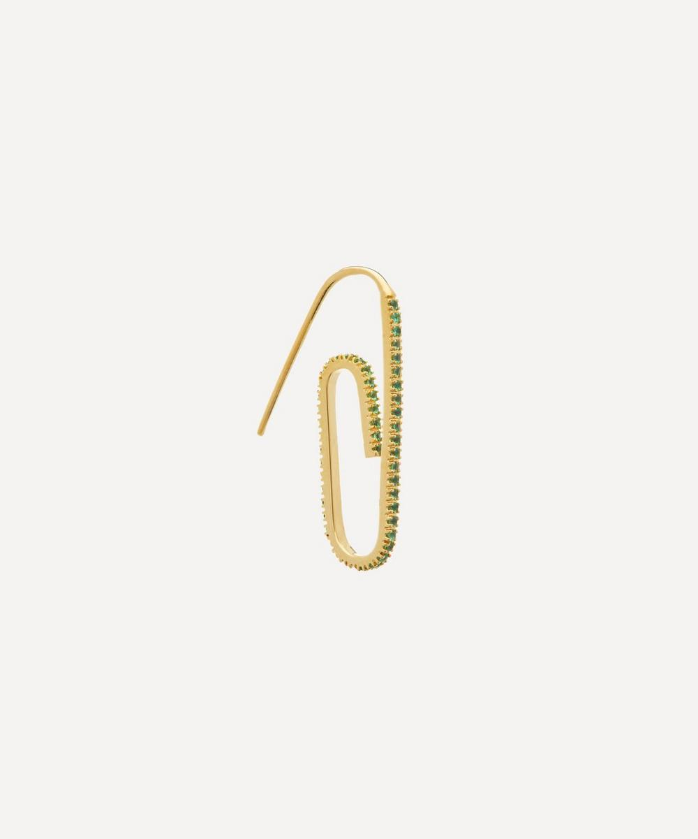 Hillier Bartley - Gold-Plated The Classic Pavé Paperclip Earring