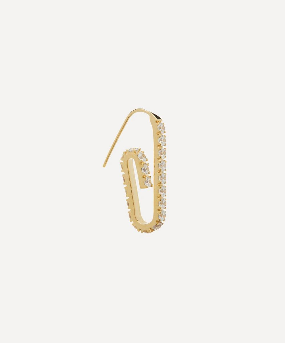 Hillier Bartley - Gold-Plated The Jumbo Pavé Paperclip Earring