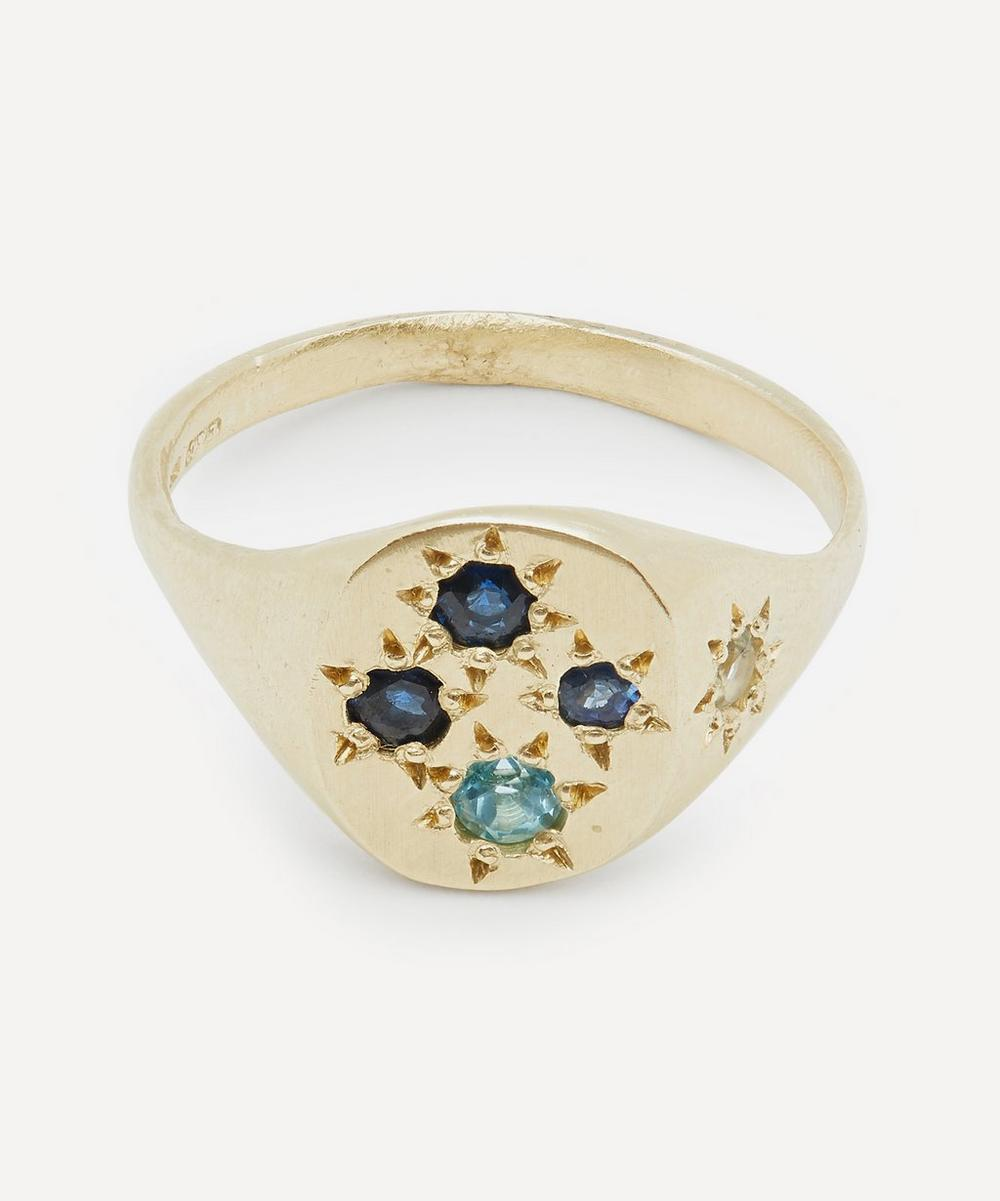 Seb Brown - Gold Neapolitan Blue Multi-Stone Signet Ring