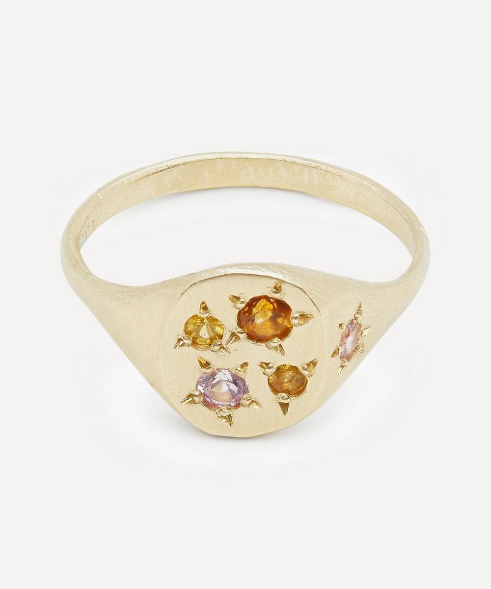 Seb Brown - Gold Neapolitan Peach Multi-Stone Signet Ring