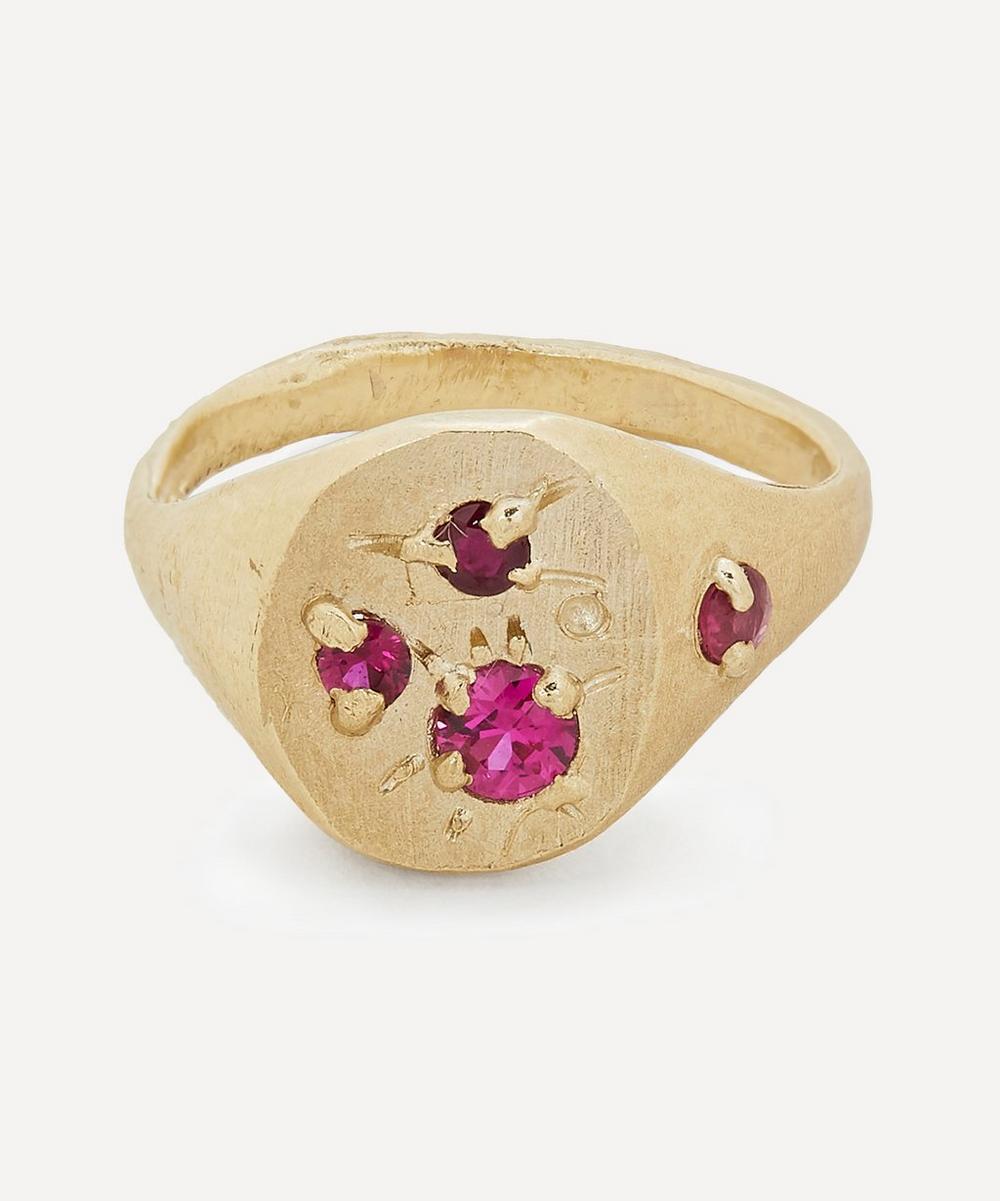 Seb Brown - Gold Rough Ruby Signet Ring