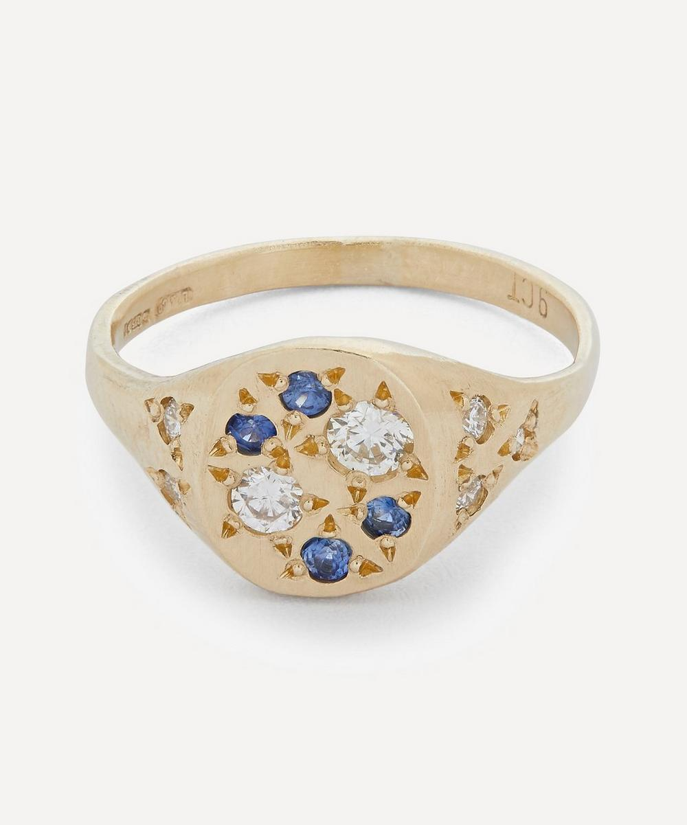 Seb Brown - Gold Ultra Eleganza Diamond and Sapphire Signet Ring