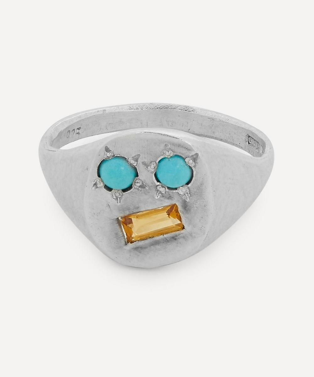 Seb Brown - Silver Turquoise and Citrine Face Signet Ring