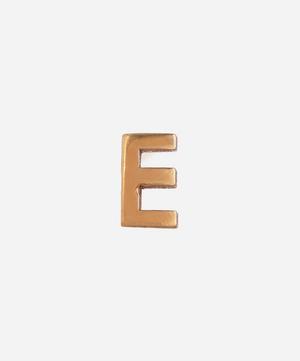 Gold E Initial Stud Earring