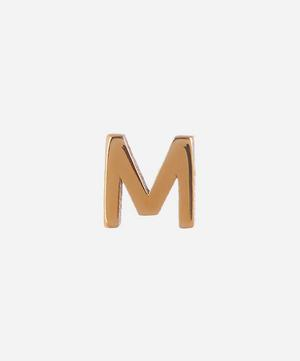 Gold M Initial Stud Earring