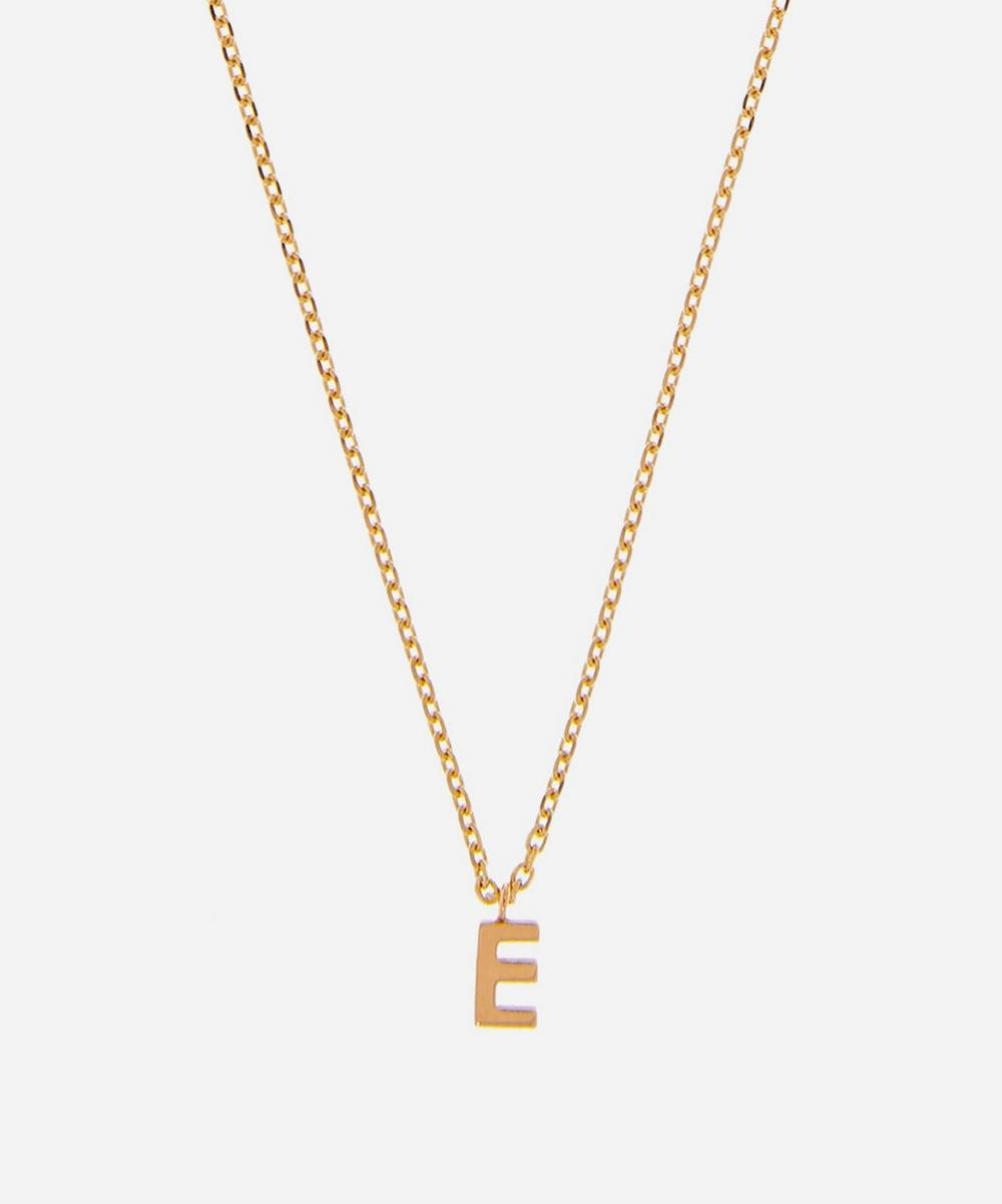 AURUM + GREY - Gold E Initial Pendant Necklace