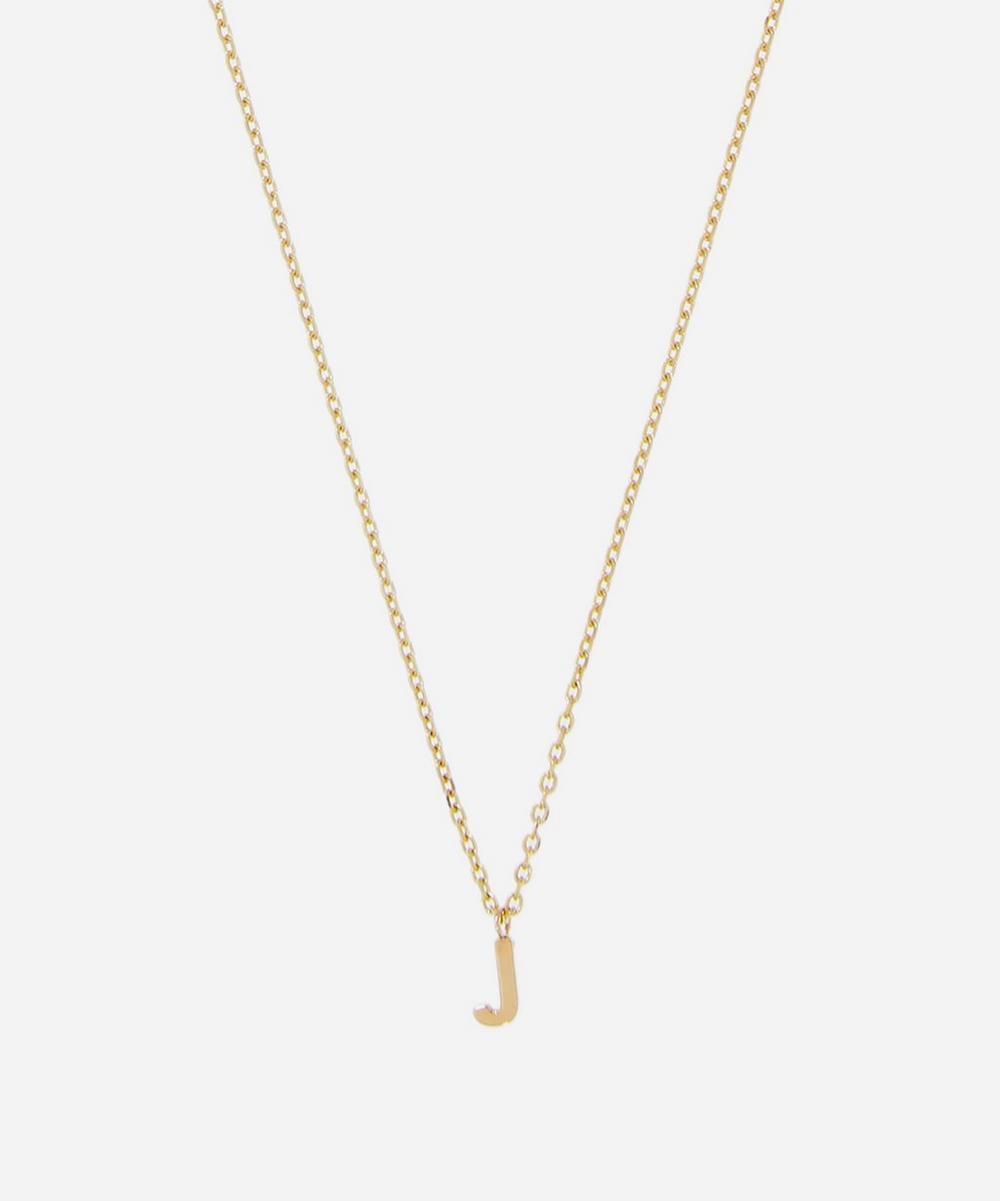 AURUM + GREY - Gold J Initial Pendant Necklace