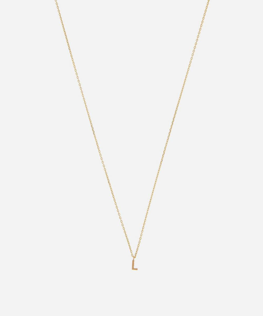 AURUM + GREY - Gold L Initial Pendant Necklace