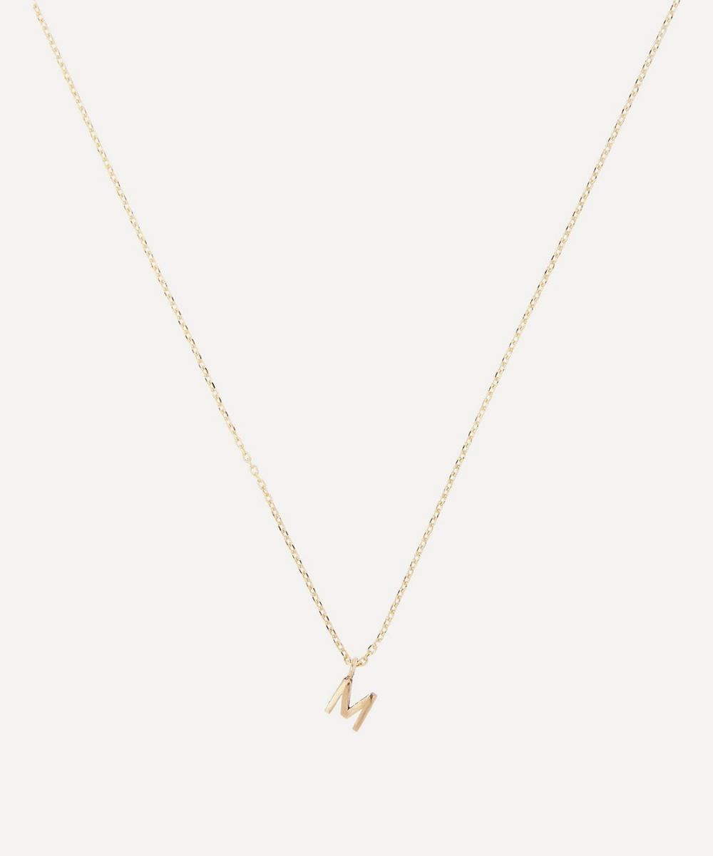 AURUM + GREY - Gold M Initial Pendant Necklace