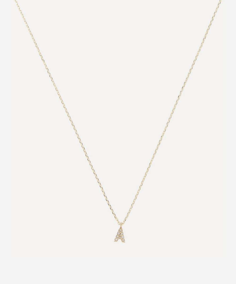 AURUM + GREY - Gold A Diamond Initial Pendant Necklace