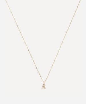 Gold A Diamond Initial Pendant Necklace