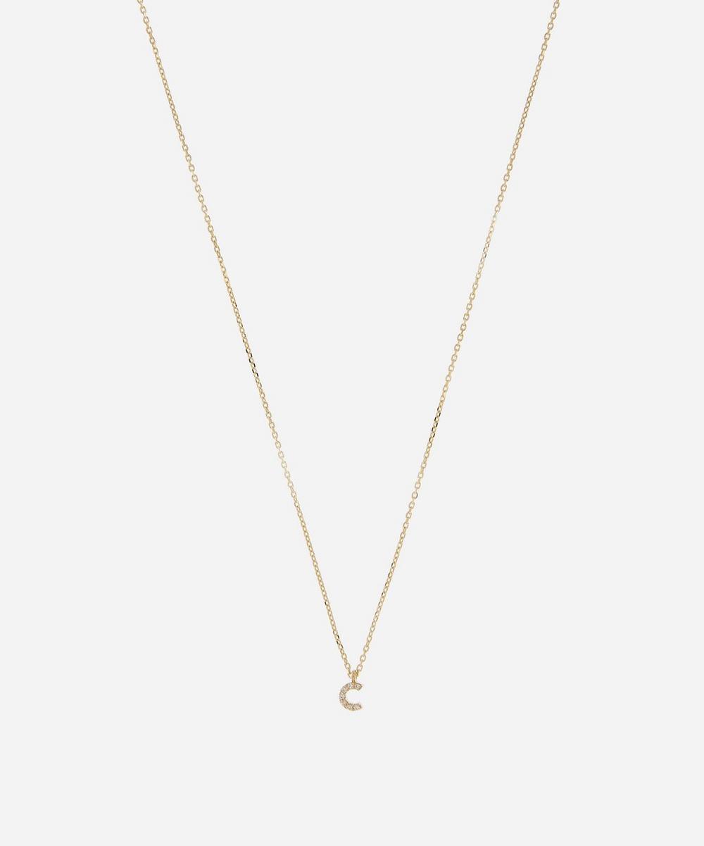AURUM + GREY - Gold C Diamond Initial Pendant Necklace