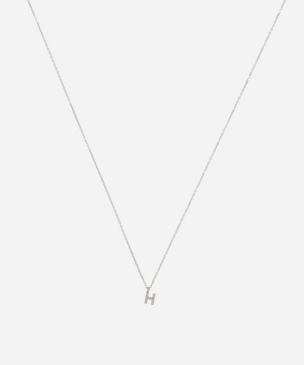 AURUM + GREY - Gold H Diamond Initial Pendant Necklace