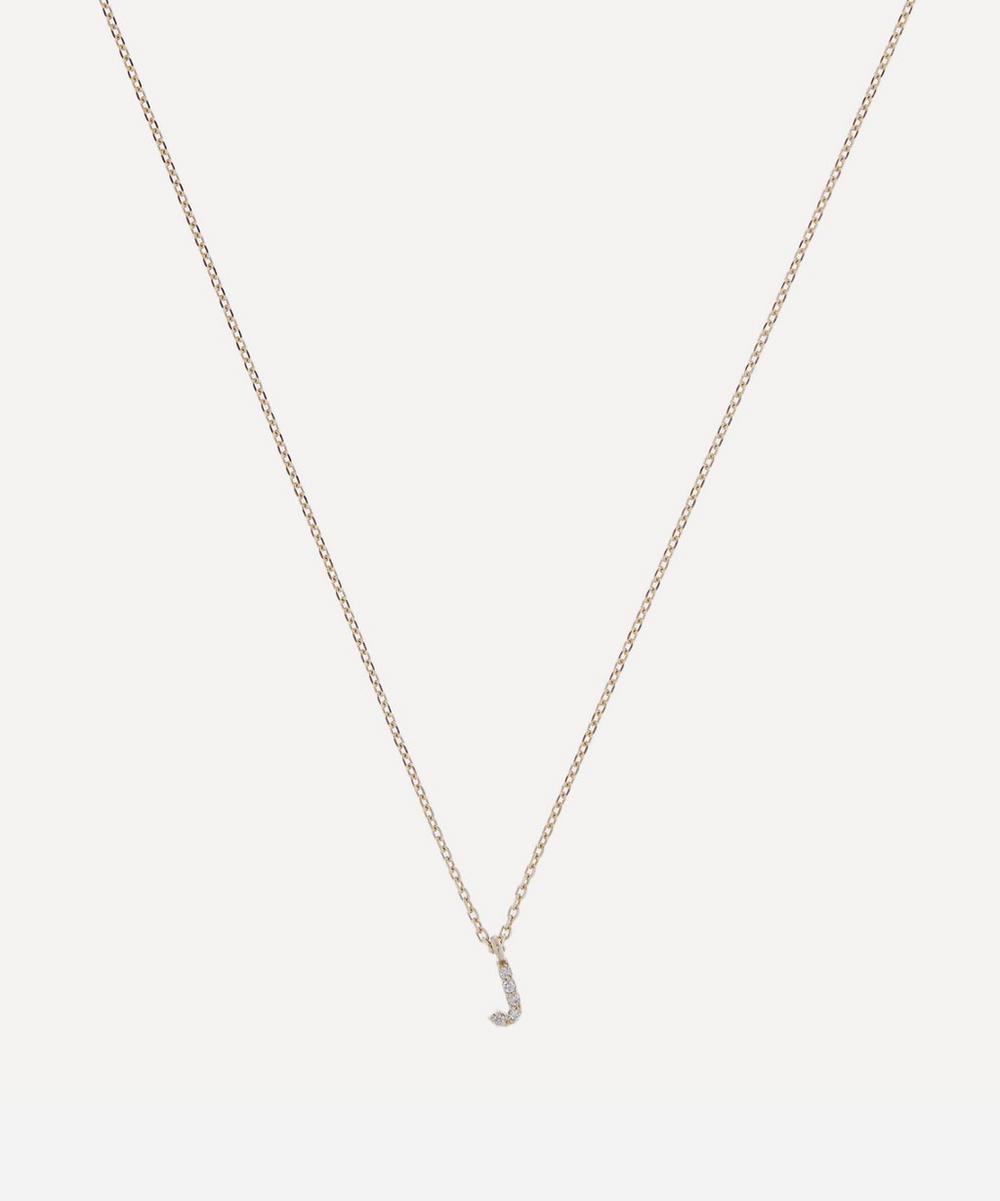 AURUM + GREY - Gold J Diamond Initial Pendant Necklace