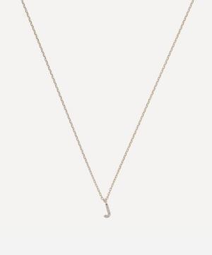 Gold J Diamond Initial Pendant Necklace
