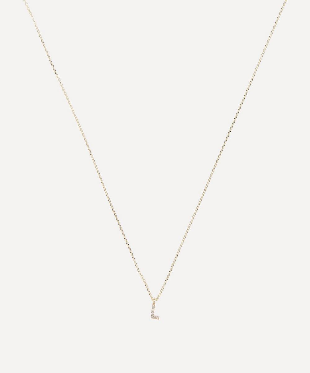 AURUM + GREY - Gold L Diamond Initial Pendant Necklace