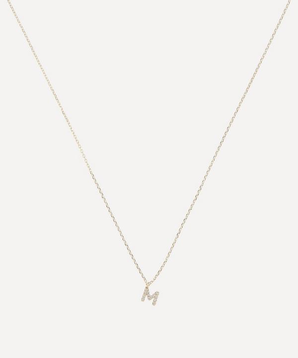 AURUM + GREY - Gold M Diamond Initial Pendant Necklace