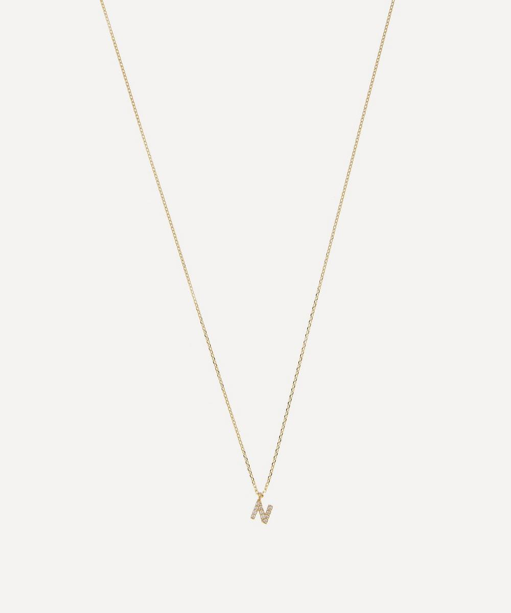 AURUM + GREY - Gold N Diamond Initial Pendant Necklace image number 0