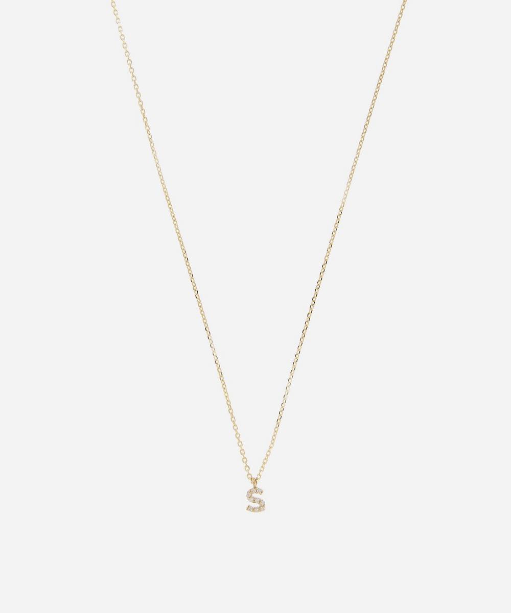 AURUM + GREY - Gold S Diamond Initial Pendant Necklace