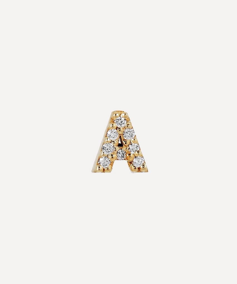 AURUM + GREY - Gold A Diamond Initial Stud Earring