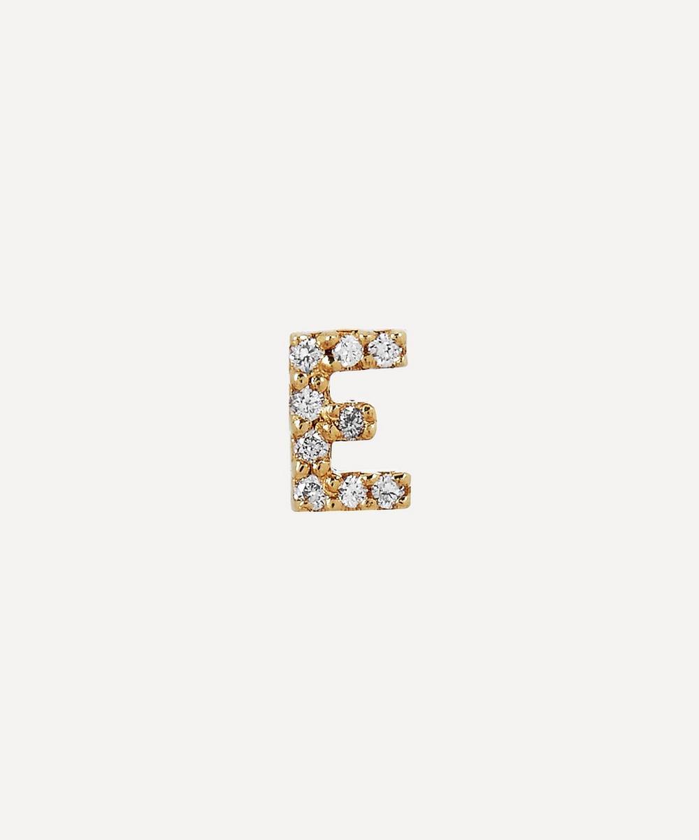 AURUM + GREY - Gold E Diamond Initial Stud Earring