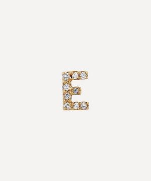 Gold E Diamond Initial Stud Earring