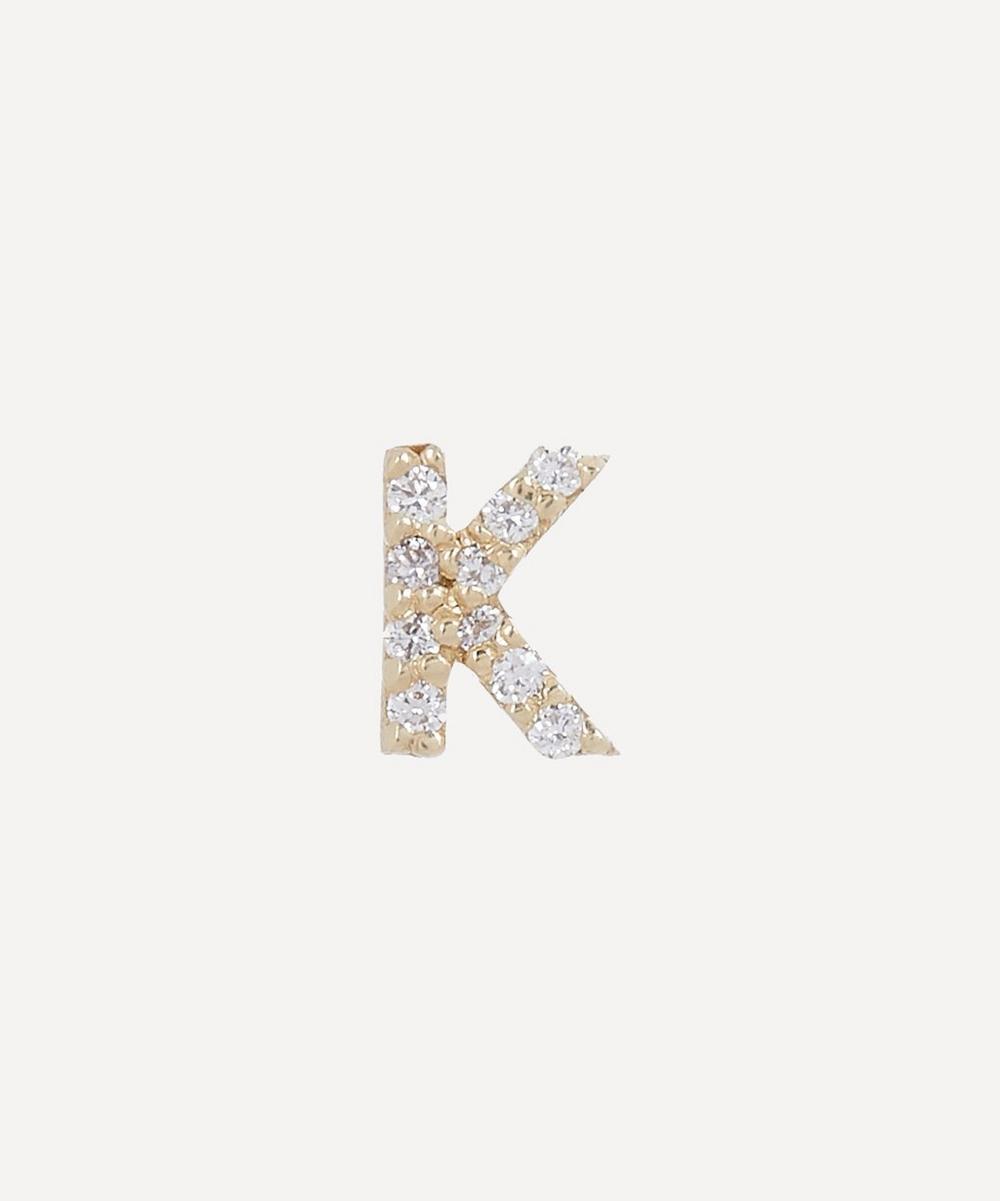 AURUM + GREY - Gold K Diamond Initial Stud Earring