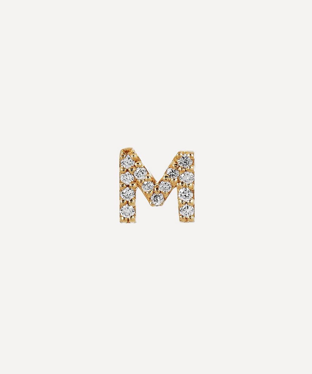 AURUM + GREY - Gold M Diamond Initial Stud Earring
