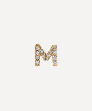 Gold M Diamond Initial Stud Earring