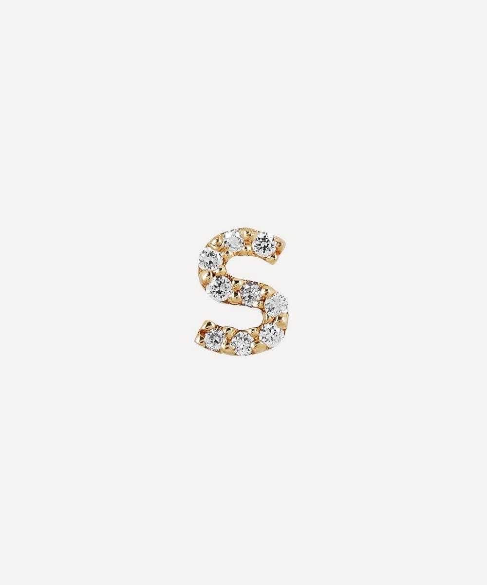 AURUM + GREY - Gold S Diamond Initial Stud Earring