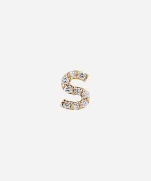 Gold S Diamond Initial Stud Earring
