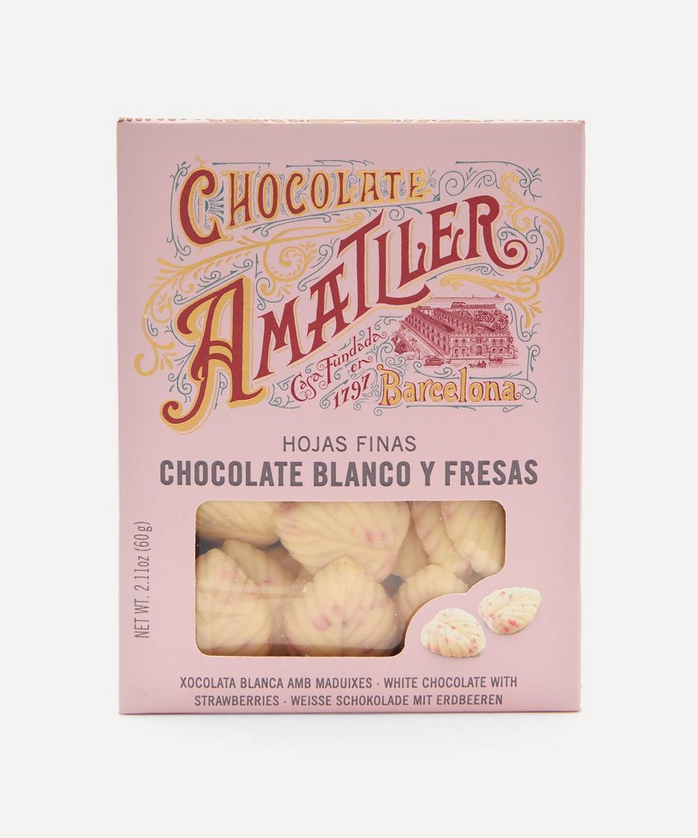 Chocolate Amatller - White Strawberry Leaves Chocolate Tin 60g