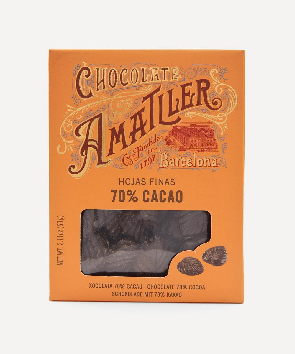 Chocolate Amatller - 70% Chocolate Leaves in Tin 60g