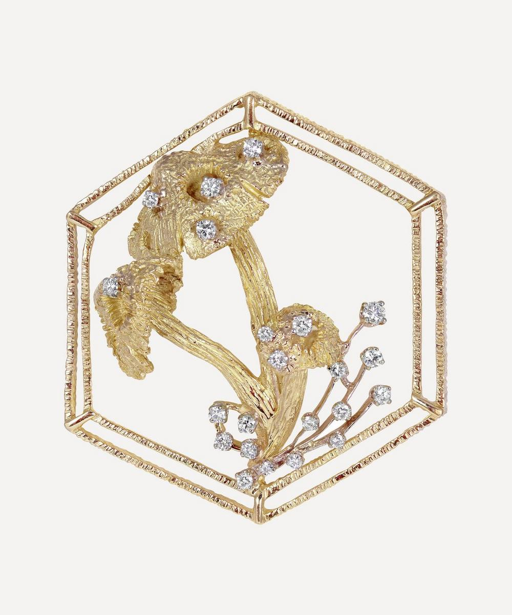 Kojis - Gold Diamond Mushroom Brooch Pendant Necklace