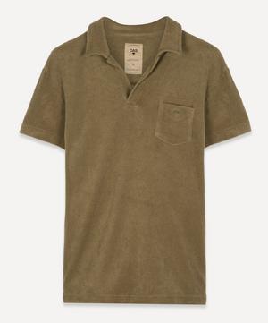 Terry Cotton Open Collar Polo-Shirt